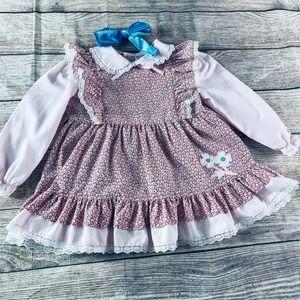 Girls 3T vintage LS ruffle lace dress